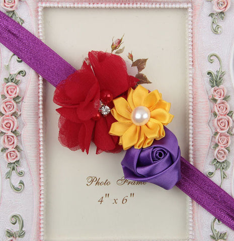 Multicolor flowers headband - Purple Red