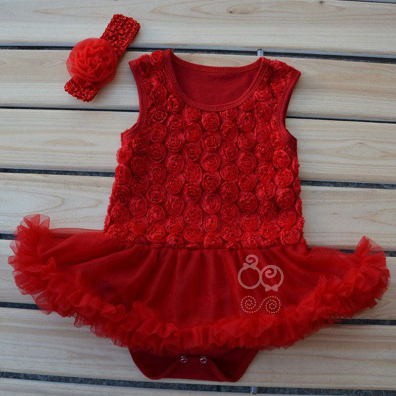 Red rosette tutu romper with matching headband