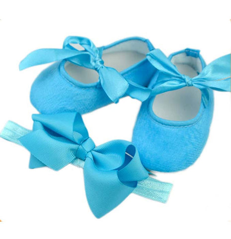 Pikaboo Newborn baby Headband baby Shoes combo - Plain Blue
