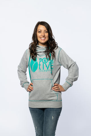 Ladies Grey/Teal Crossover Neck hoodie