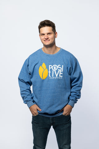 Positive Inception Royal Blue and Yellow Crew Neck