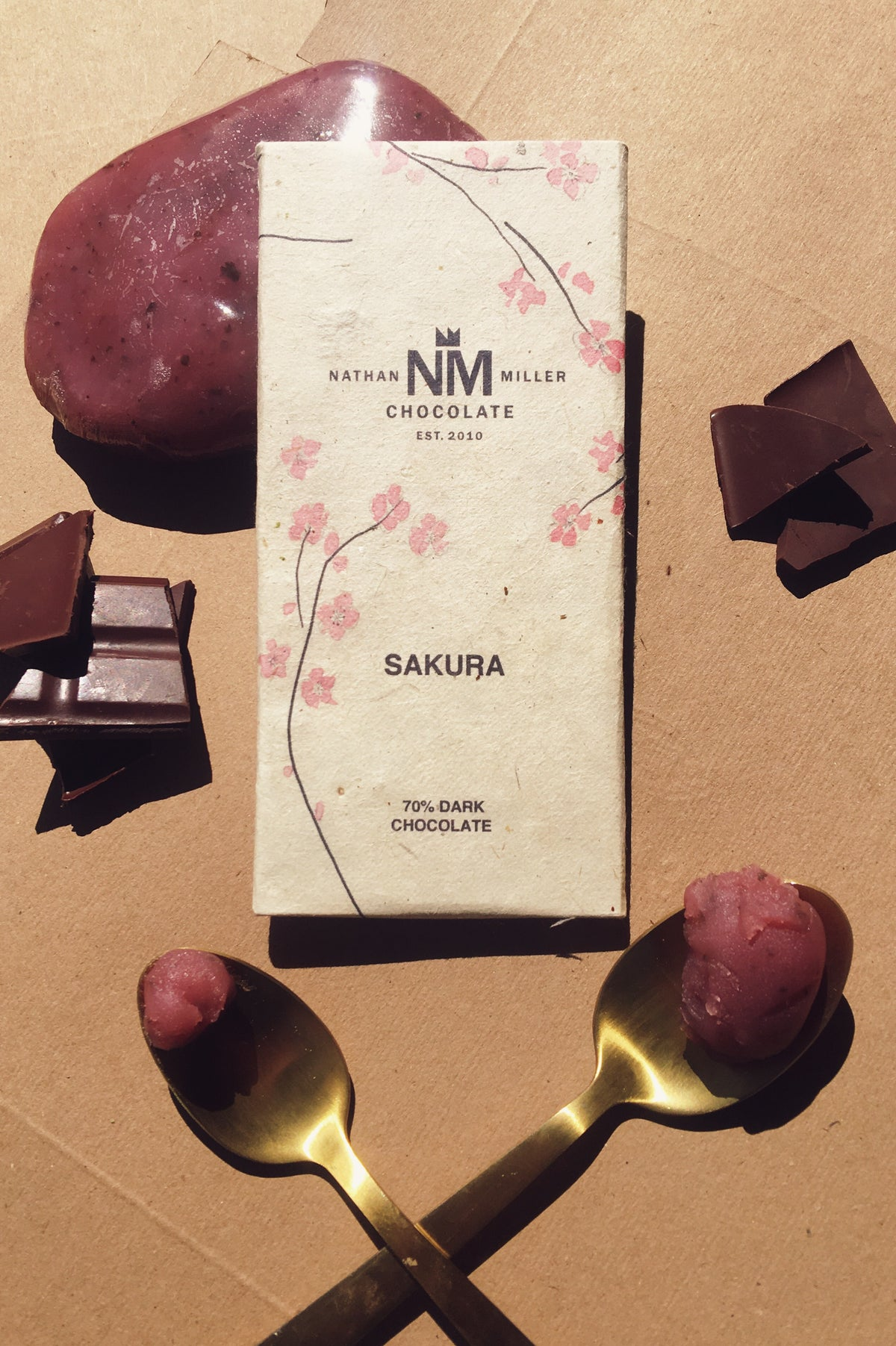 Sakura cherry japanese dark chocolate made by Nathan Miller Chocolate with Avion Clothier and Simone White Bean to Bar Crafter in Pennsylvania Kathy Tsina Bird