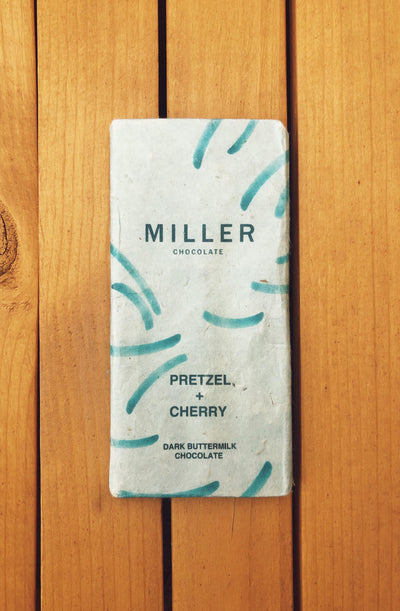 Pretzel and cherry dark milk chocolate by Miller Chocolate of Pennsylvania. Salty sweet variety.