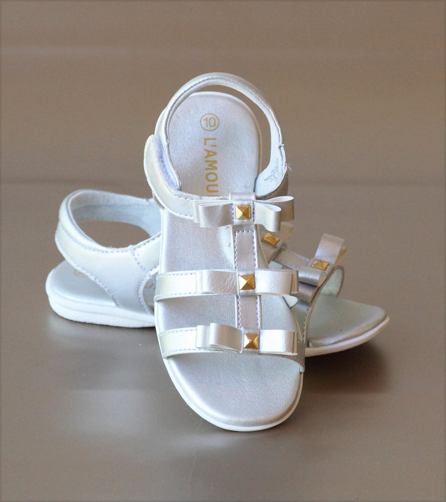 L'Amour Girls Silver Studded Bow Sandal