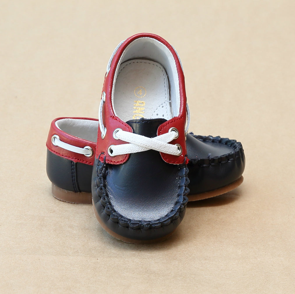 Angel Baby Boys Hudson Navy Red Leather Boat Shoe - Petitfoot.com