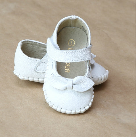 L'Amour Infant Girls Mary Jane Crib Shoe with Bow