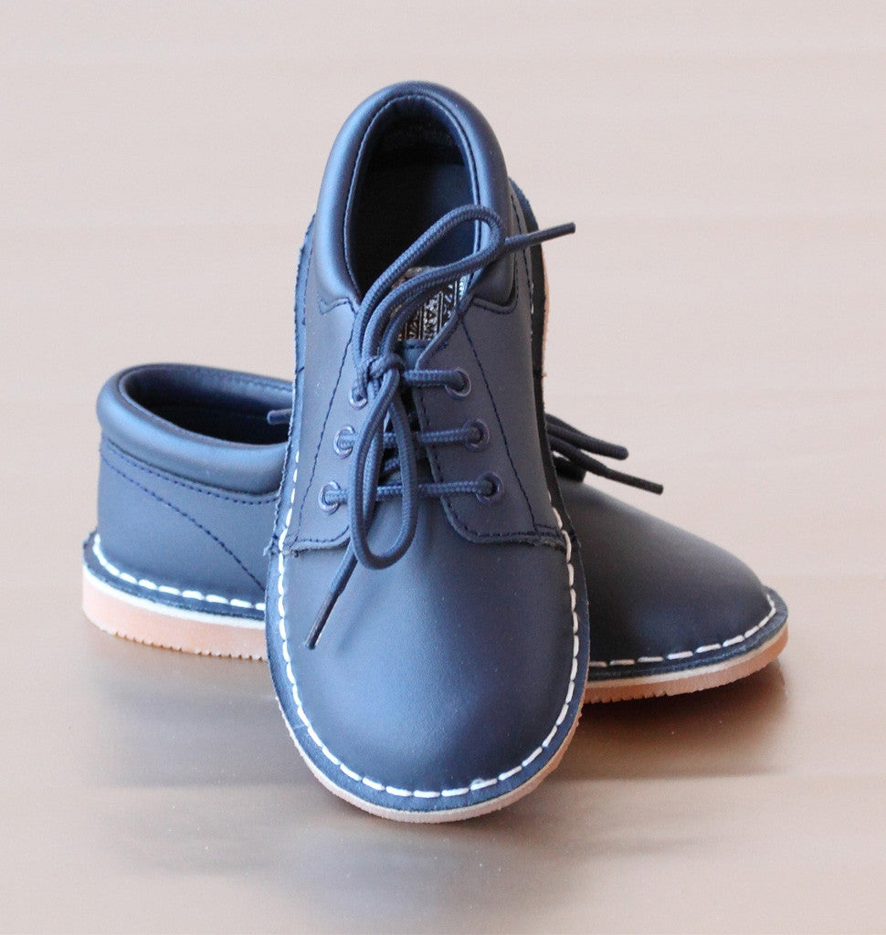L'Amour Boys Navy Leather Lace Up Shoes