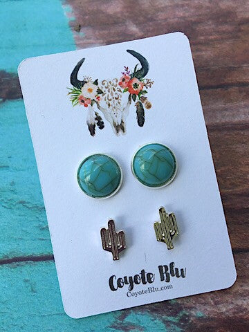 CACTUS & TURQUOISE STUD EARRING SET - SILVER - Coyote Blu