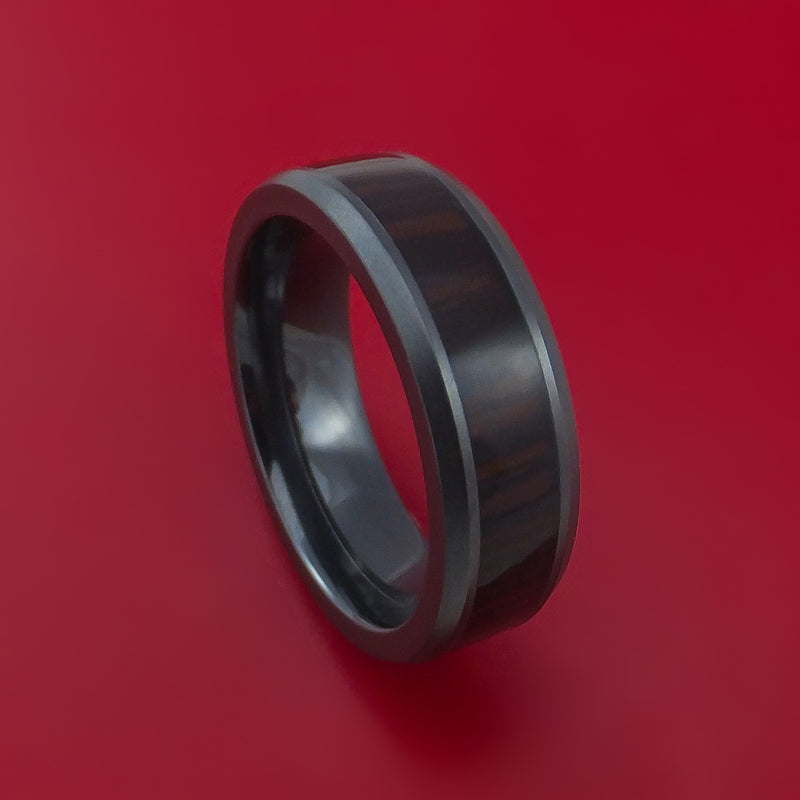 Black Zirconium Ring with Hardwood Inlay Custom Made Band