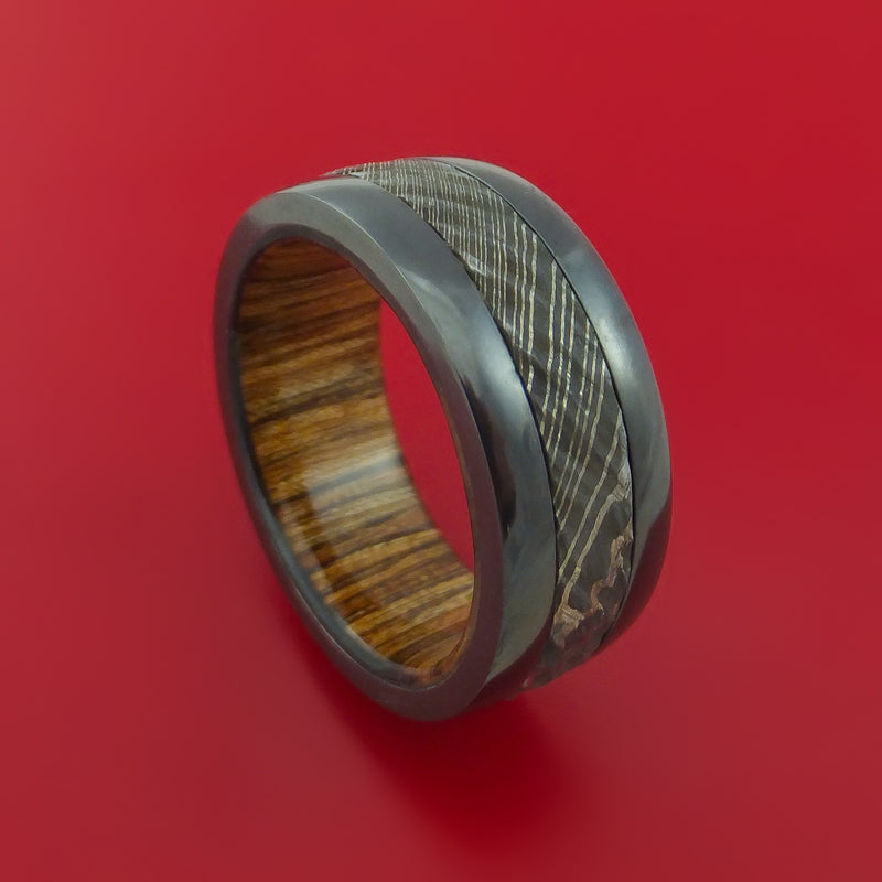 Black Zirconium Ring with Damascus Steel Inlay and Interior Hardwood Sleeve Custom Made Band