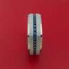 14K White Gold and Sapphires Eternity Square Ring Custom Made Band
