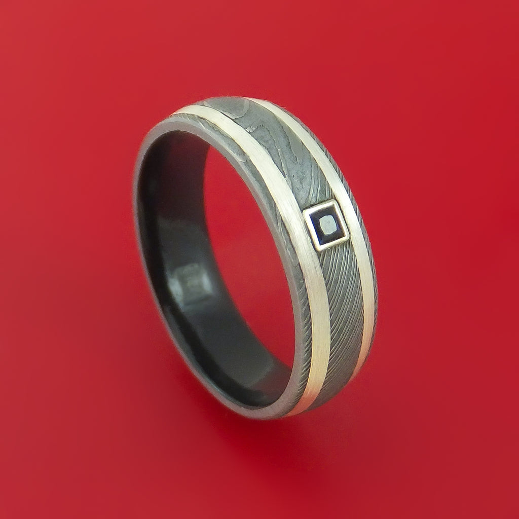 Damascus Steel Ring with Sterling Silver Inlay Black Diamonds and Interior Cerakote Sleeve Custom Made Band