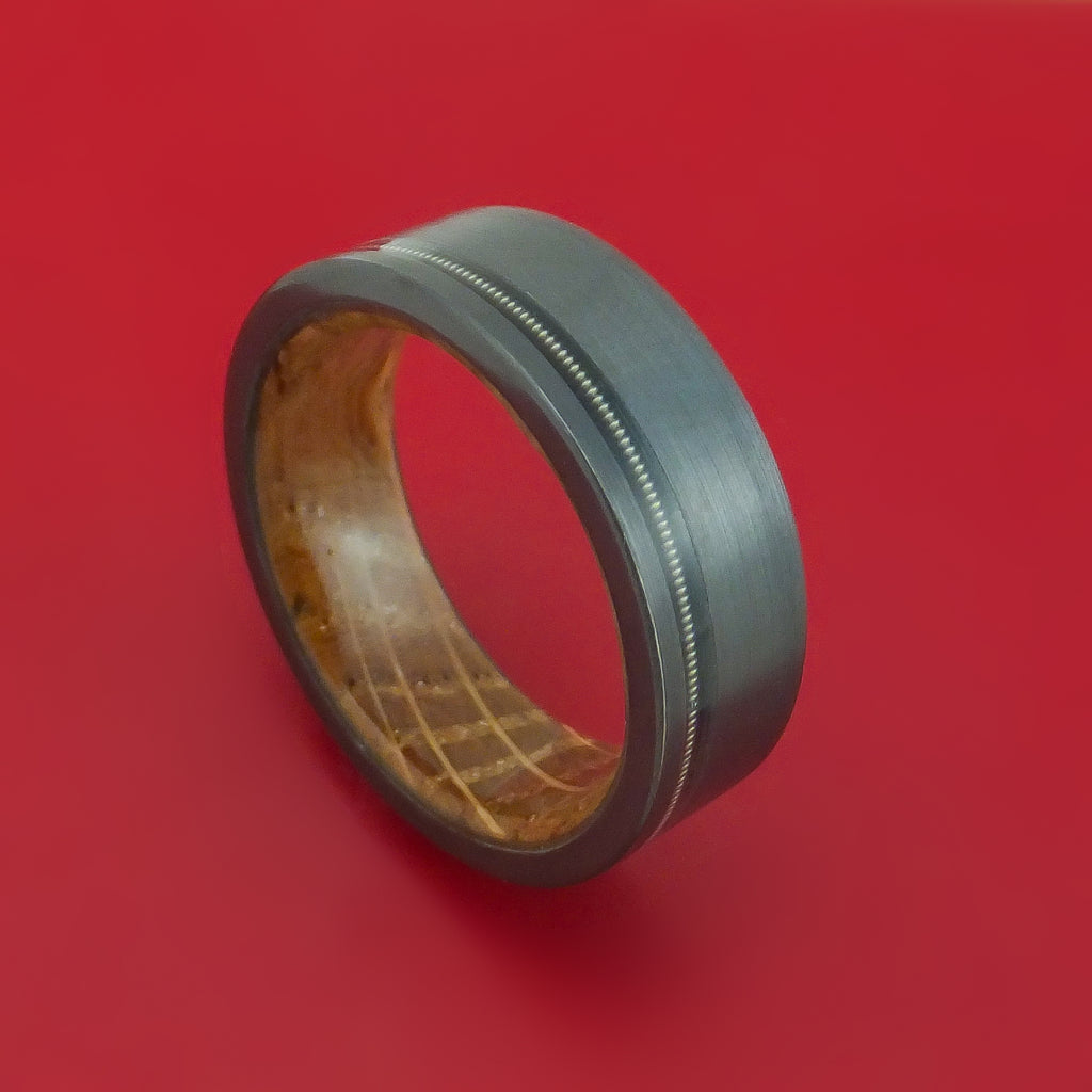 Black Zirconium Ring with Nickel-Wound Guitar String Inlay and Interior Hardwood Sleeve Custom Made Band