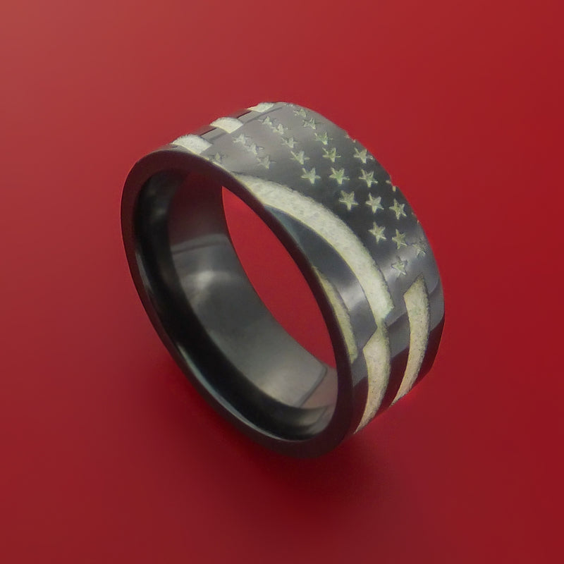 Black Zirconium Ring with Laser-Etched American Flag Inlay Custom Made Band