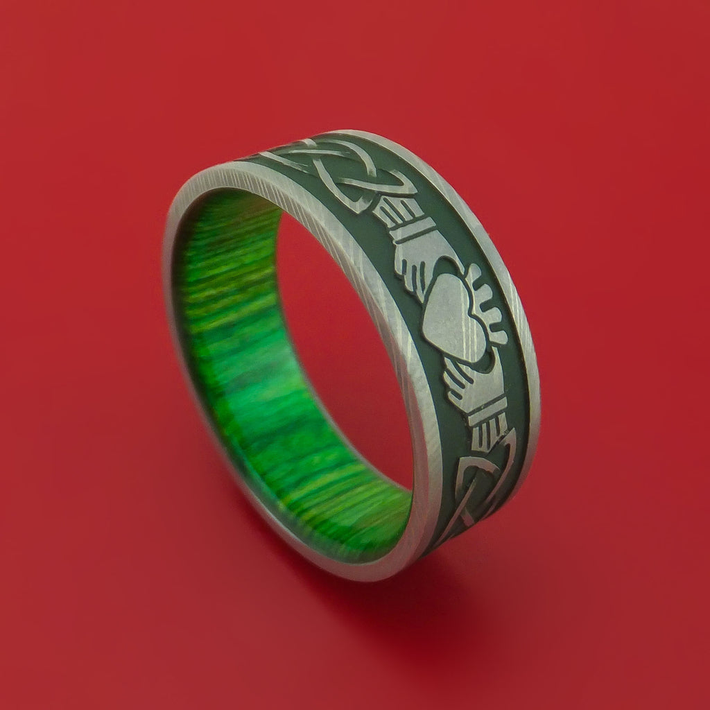Damascus Steel Ring with Claddagh Milled Celtic Design and Cerakote Inlays and Interior Hardwood Sleeve Custom Made Band