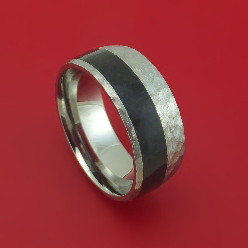 Titanium Ring with Dinosaur Bone Inlay Custom Made Band
