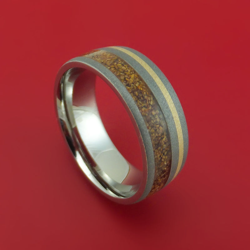 Titanium Ring with Dinosaur Bone and 14k Yellow Gold Inlays Custom Made Band