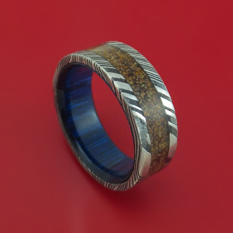 Kuro Damascus Steel Ring with Dinosaur Bone Inlay and Interior Hardwood Sleeve Custom Made Band