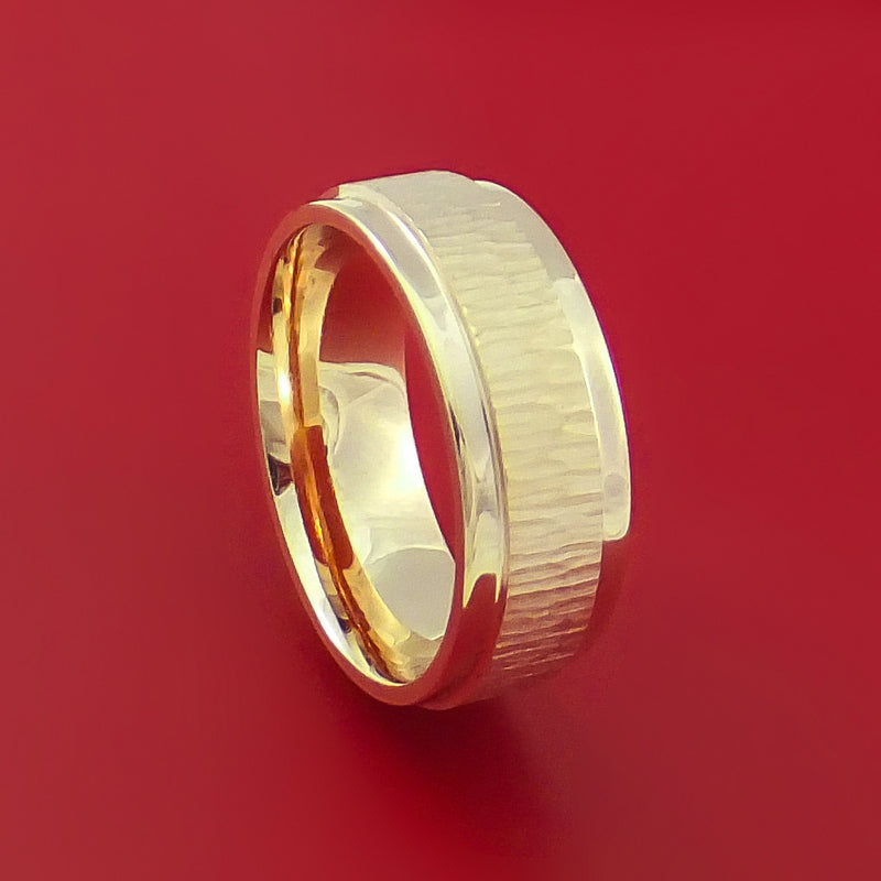 14K Yellow Gold Classic Style Wedding Band Tree Bark Finish Custom Made