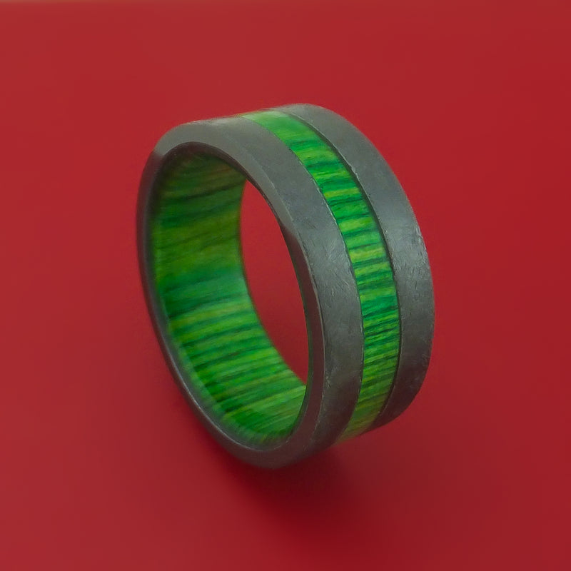 Black Zirconium Ring with Hardwood Inlay and Interior Hardwood Sleeve Custom Made Band