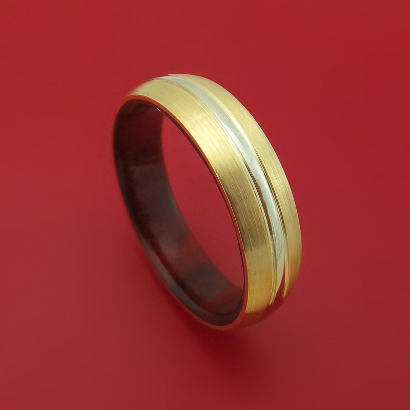 14k Yellow Gold Ring with 14K White Gold Inlay and Interior Hardwood Sleeve Custom Made Band