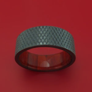 Black Zirconium Knurl Ring with Wood Sleeve Custom Made
