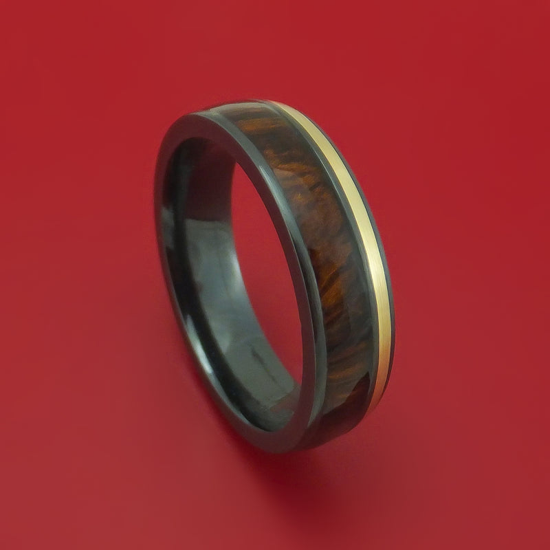 Black Zirconium and Gold Ring with Hardwood Inlay Custom Made