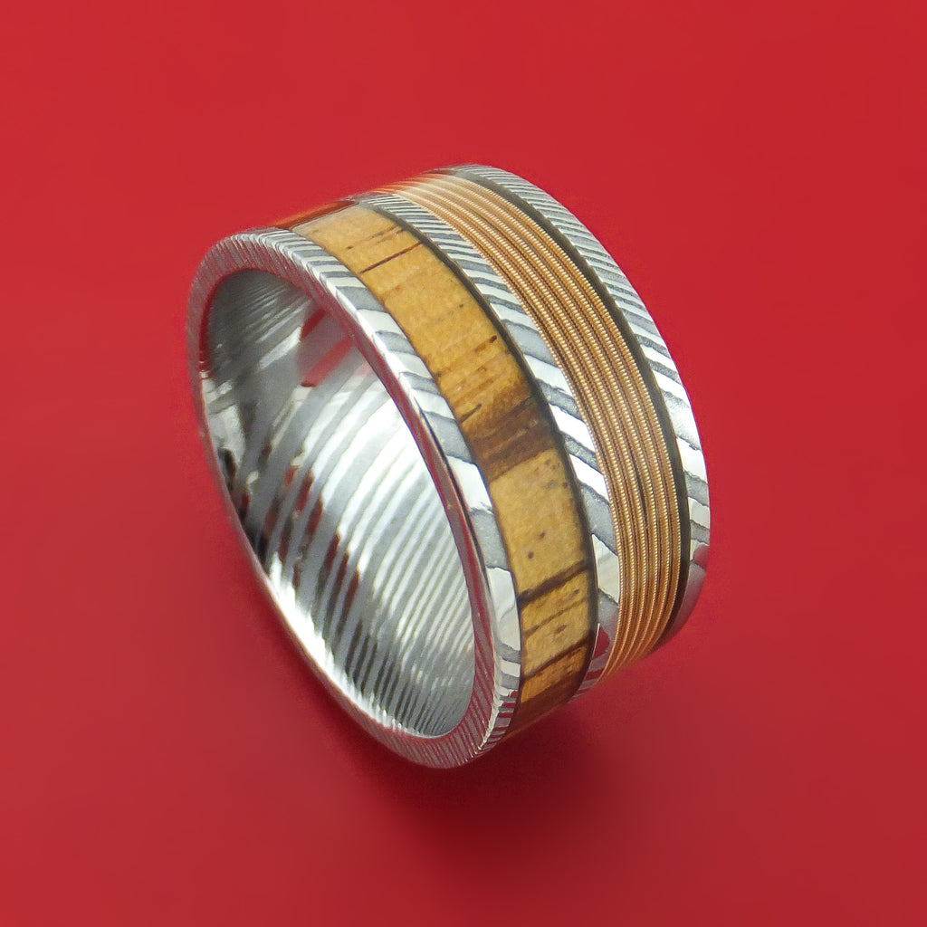 Damascus Steel Guitar String and Wood Ring Custom Made Band
