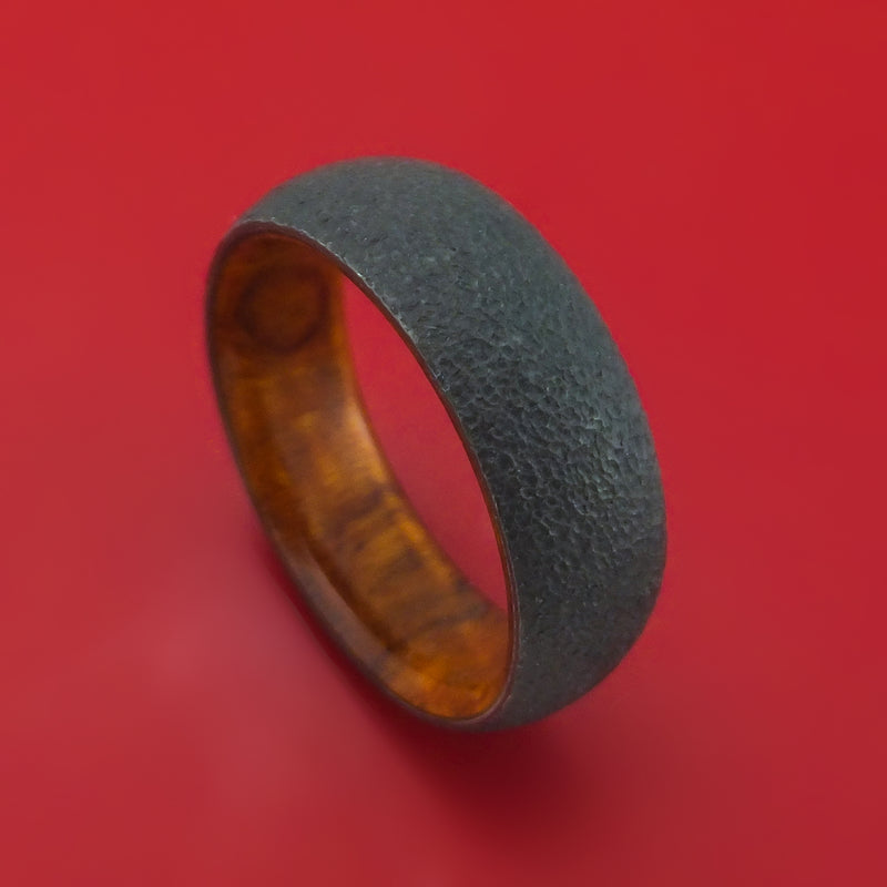 Black Zirconium and Hardwood Ring Custom Made Band
