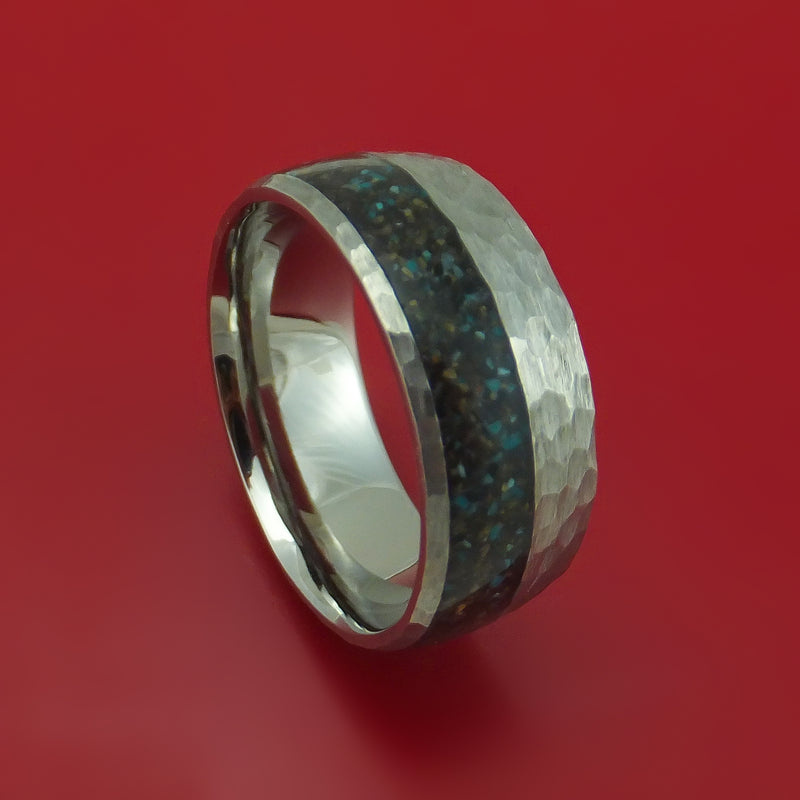 Titanium And Black Dinosaur Bone with Turquoise Ring Custom Made Fossil Band