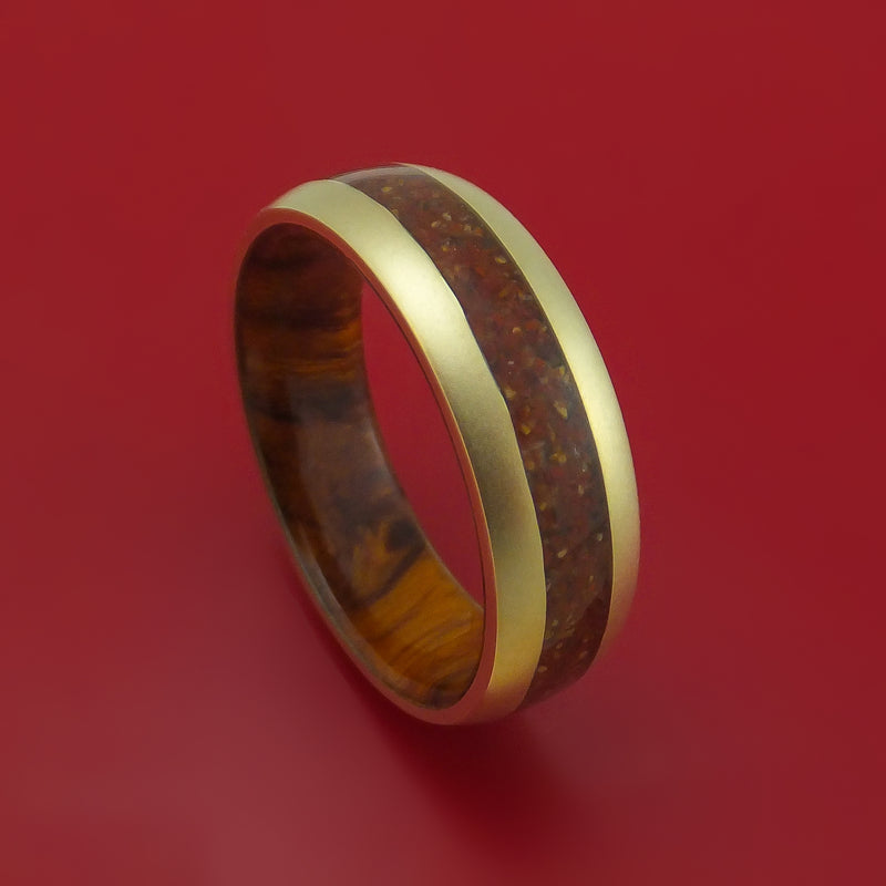 14k Yellow Gold Ring with Red Dinosaur Bone and Tan Dinosaur Bone Mixed Mosaic Inlay and Interior Hardwood Sleeve Custom Made Band