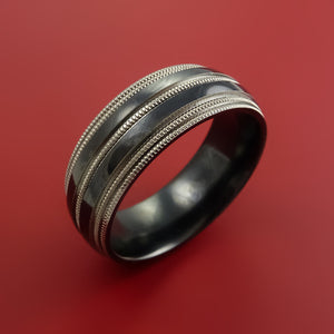 Black Zirconium Ring Textured Mill grain Pattern Band Made to Any Sizing and Finish