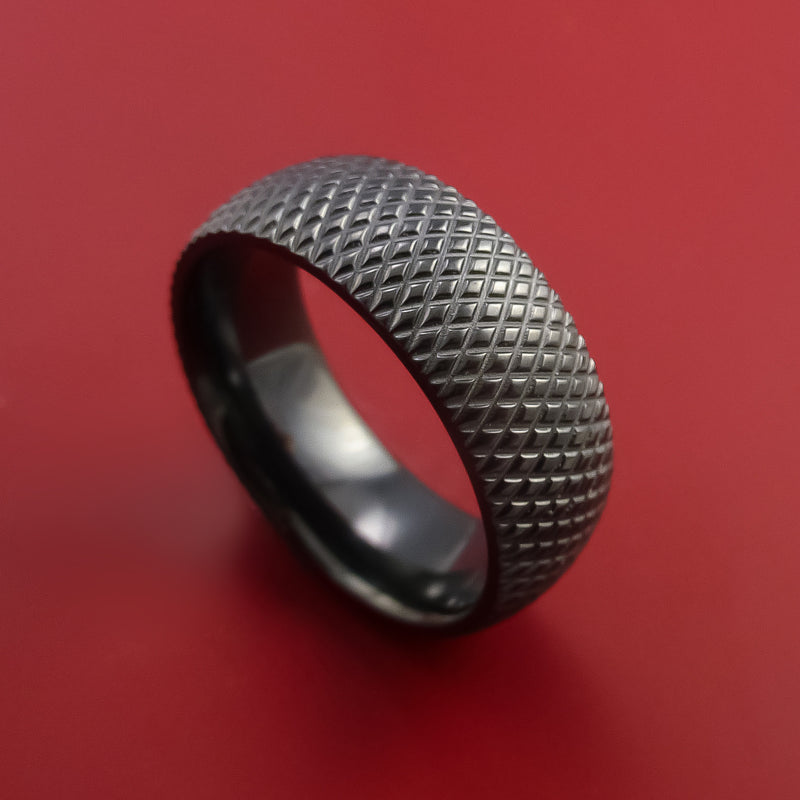 Black Zirconium Ring with Textured Knurl Pattern Inlay Custom Made Band