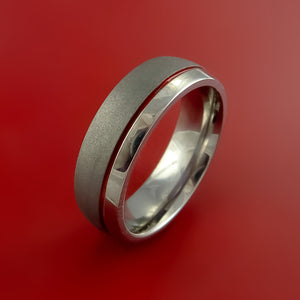 Titanium Band Custom Color Design Ring Any Size Band 3 to 22 Red, Blue, Green Inlay