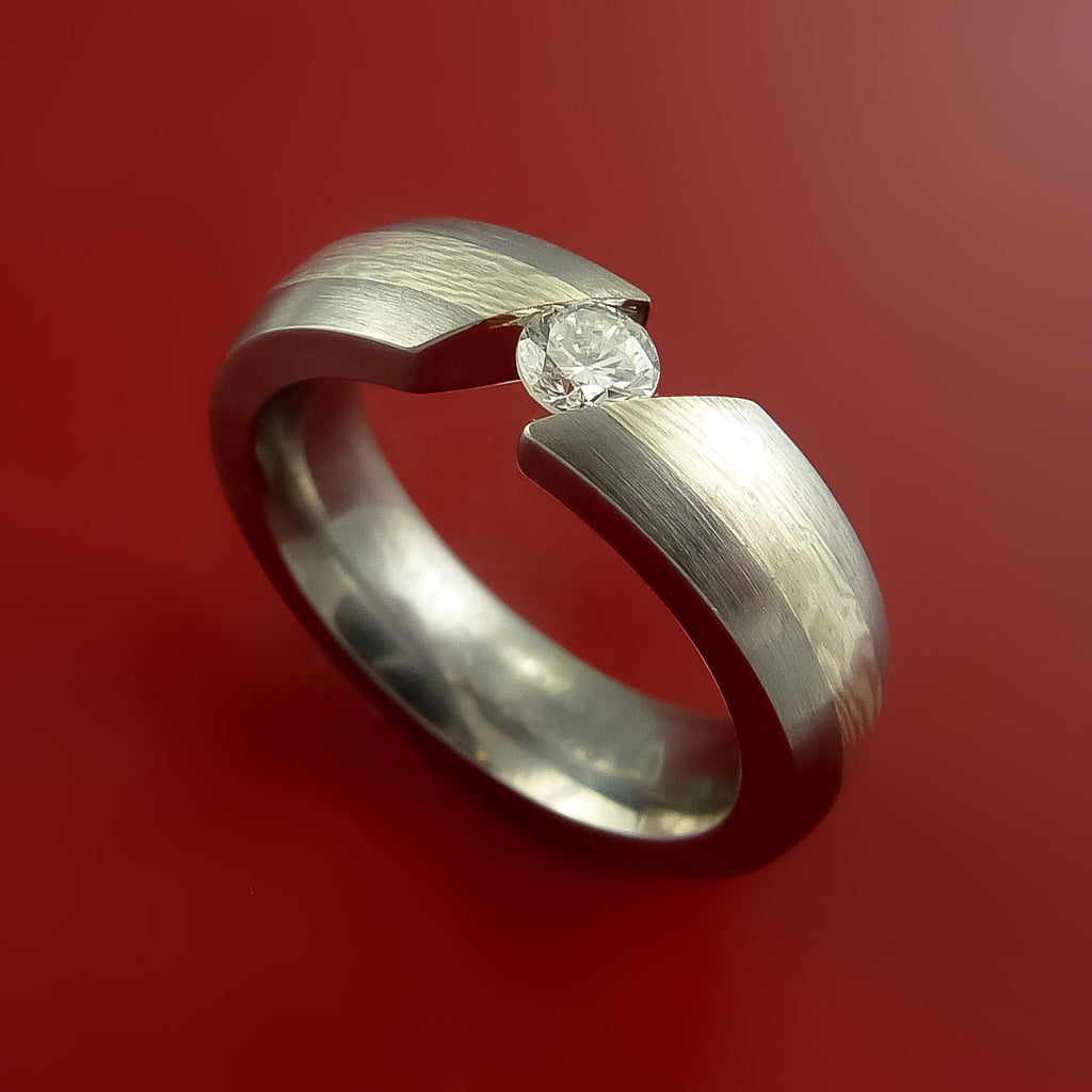 Titanium Ring with Palladium and Sterling Silver Mokume Gane Inlay and Tension-Set Moissanite Custom Made Band