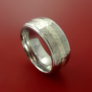 Cobalt Chrome Wide Ring Classic Style with Hammer Finish and Platinum Inlay Wedding Band Any Size 3-22