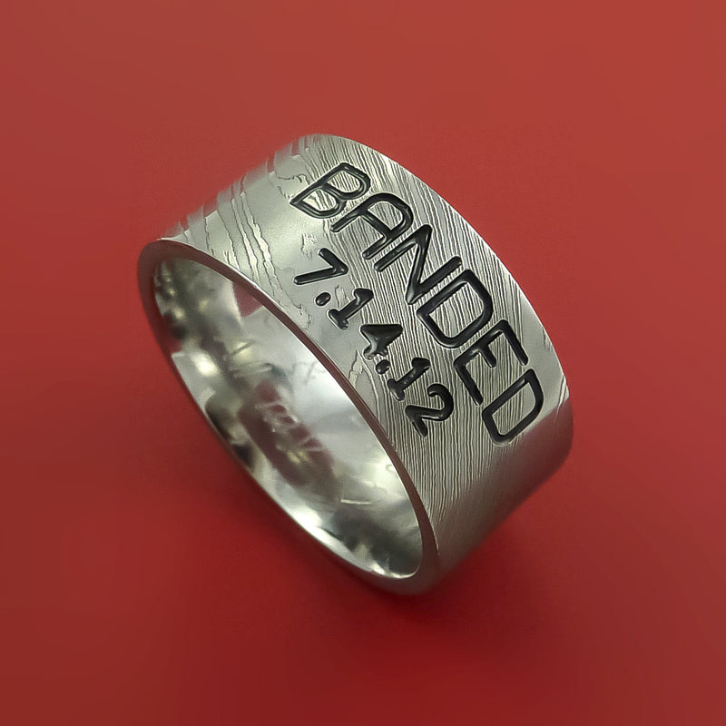 Wide Damascus Steel Ring with Personalized Message Duck Band Inlay Custom Made Band