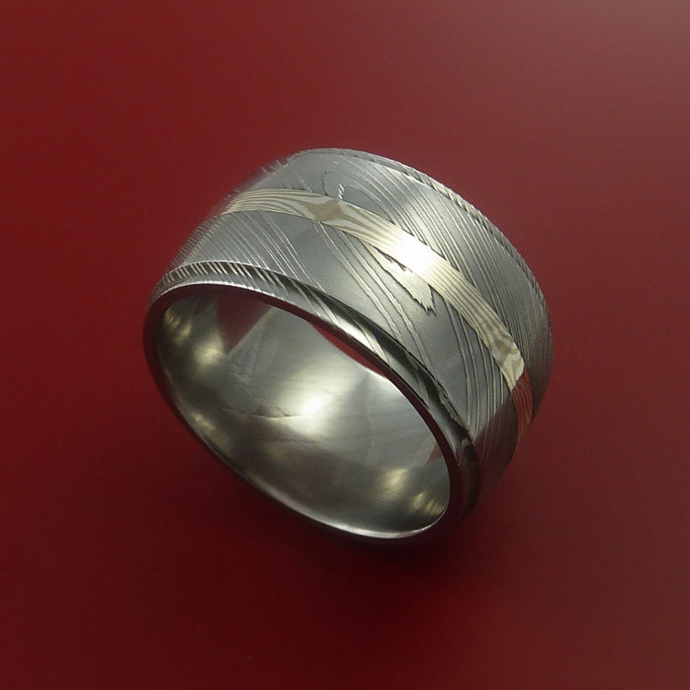 Wide Damascus Steel Ring with Palladium and Sterling Silver Mokume Gane Inlay Custom Made Band