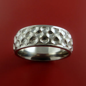 Titanium Ring with Milled Golf Ball Dimple Inlay Custom Made Band