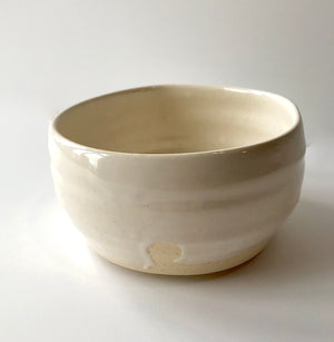 Beautiful floating white chawan matcha green tea bowl. Handmade in Los Angeles