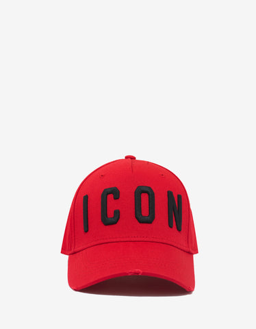 Dsquared2 Red Baseball Cap with Black Icon Logo