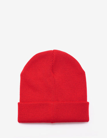 Givenchy Red Logo Badge Beanie Hat