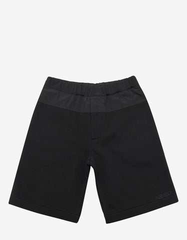 Kenzo Black Nylon Panel Logo Sweat Shorts