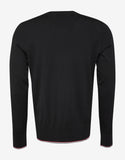 Black Tricolour Trim Wool Sweater