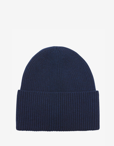Moncler Blue Wool & Cashmere Logo Beanie Hat