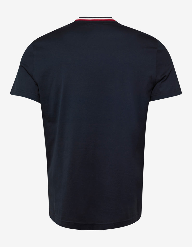Navy Blue Tricolour Collar T-Shirt