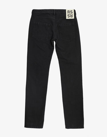 Raf Simons Black Jeans with Drug Print Knee Patches