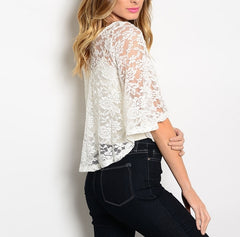 Flutter Sleeve Sheer Lace Top in Ivory