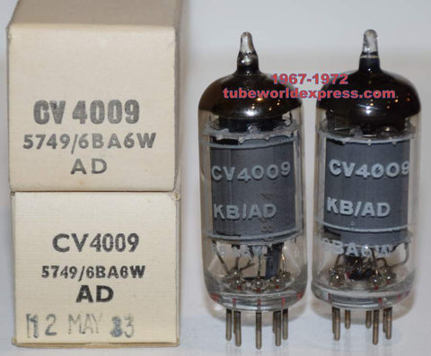 (RECOMMENDED PAIR) CV4009=6BA6W=5749 Brimar NOS 1967-1972 (14.4ma and 16ma)