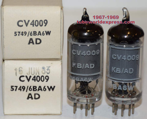 (BEST OVERALL PAIR) CV4009=6BA6W=5749 Brimar NOS 1967-1969 (11.4ma and 11.6ma)